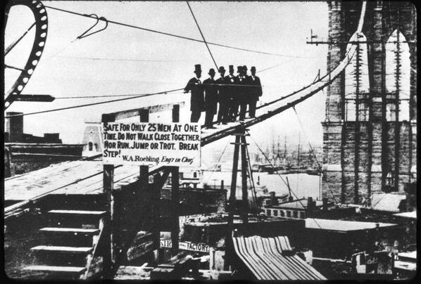 Officials on a foot bridge.  Note the sign.